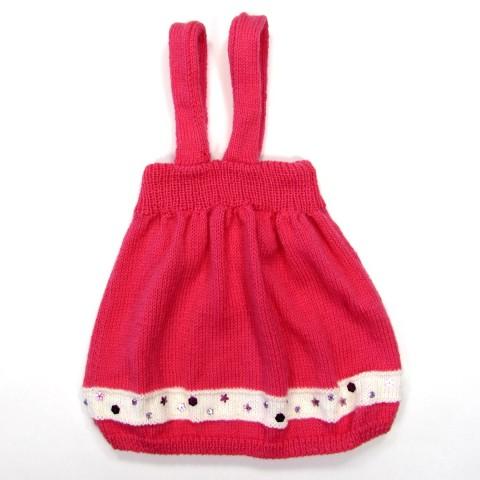 Jupe de dos avec bretelles fuchsia et blanc bébé fille