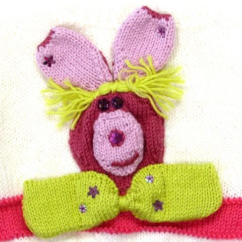 Tête de lapin et noeud papillon au dos cardigan bébé fille