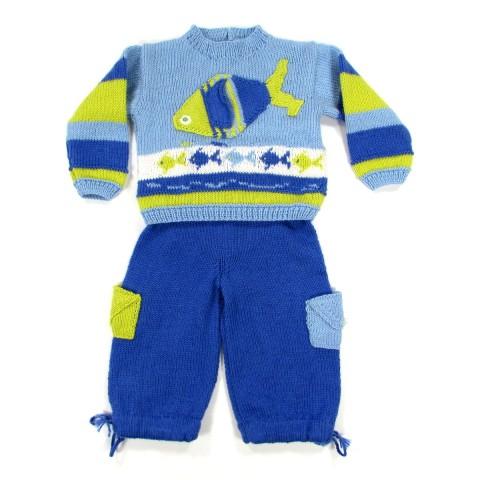 Pull et pantalon tricot bleu avec poissons bébé garçon