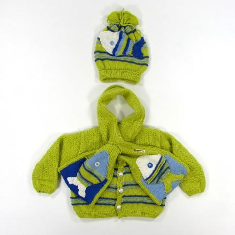 Accessoires et cardigan tricot poissons bébé