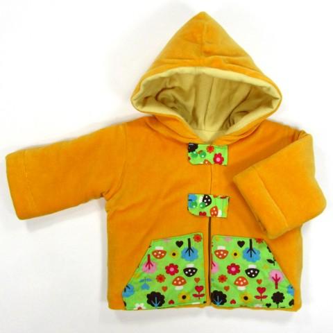Manteau velours jaune hiver pour bébé garçon 1 an