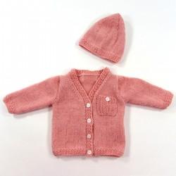 Bonnet et gilet coordonnés pour bébé prématuré fille jusqu'au 6 mois