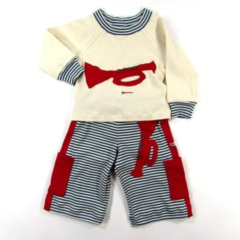 Pantacourt et t shirt avec trompette bébé garçon 2 ans