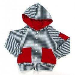 Blouson bébé à capuche en maille rayée marine naturel doublure et poches rouges