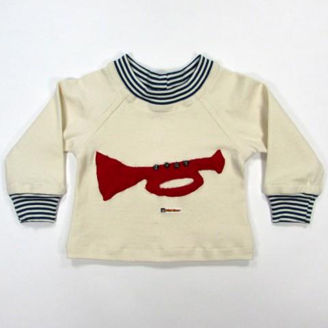 T shirt bébé garçon naturel avec trompette rouge devant en jersey