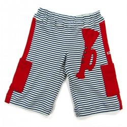 Pantacourt bébé garçon à rayures marine et naturel bandes poches et trompette en jersey rouge