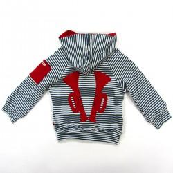 Veste bébé à capuche rayée bleu et naturel trompette rouge appliquée au dos
