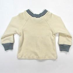 T shirt bébé de dos col et poignets rayés bleu marine et naturel