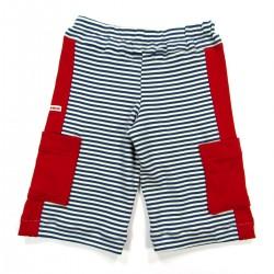 Dos du pantacourt bébé en maille rayée bleu marine et écru bandes côté et poches rouges