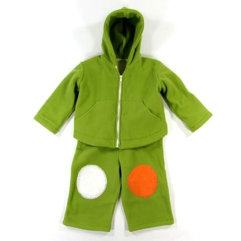 Blouson bébé à capuche et salopette en polaire vert