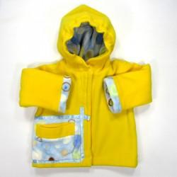 Manteau capuche bébé polaire jaune soleil avec grande poche