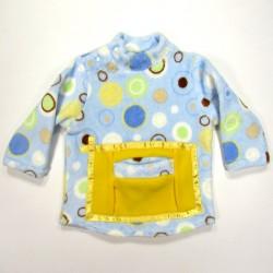 Sweatshirt bébé peluche imprimée cercles sur fond bleu ciel