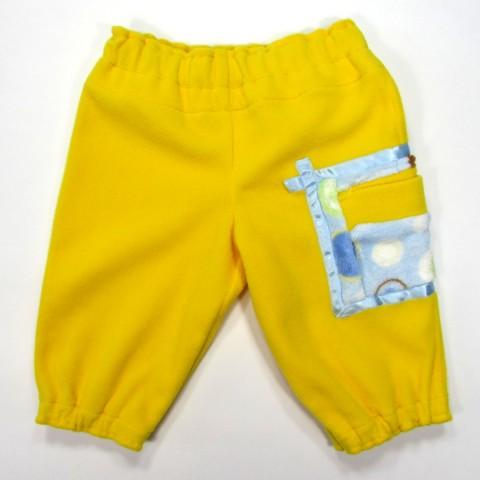 Pantalon bébé style jogging polaire jaune vif et grande poche