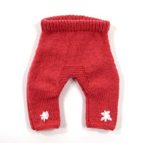 Pantalon tricoté main rose corail pour bébé prématuré fille
