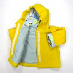 Doublure corps du manteau bébé en flanelle coton bleu ciel fermé par scratch