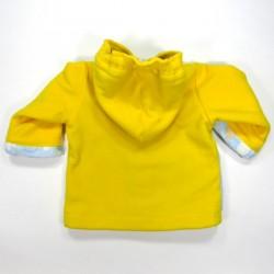 Dos manteau bébé, poignets en peluche identique et capuche polaire jaune soleil