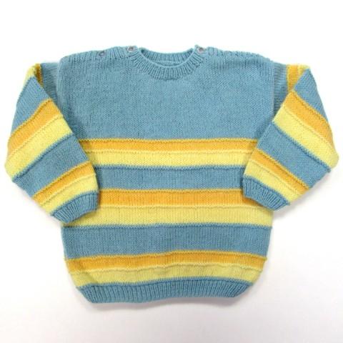 Pull bleu bébé à rayures jaune clair et jaune orangé