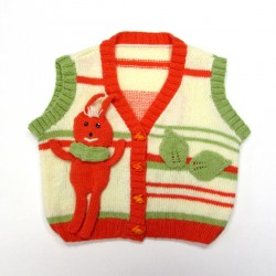 Gilet bébé sans manches avec doudou lapin orange