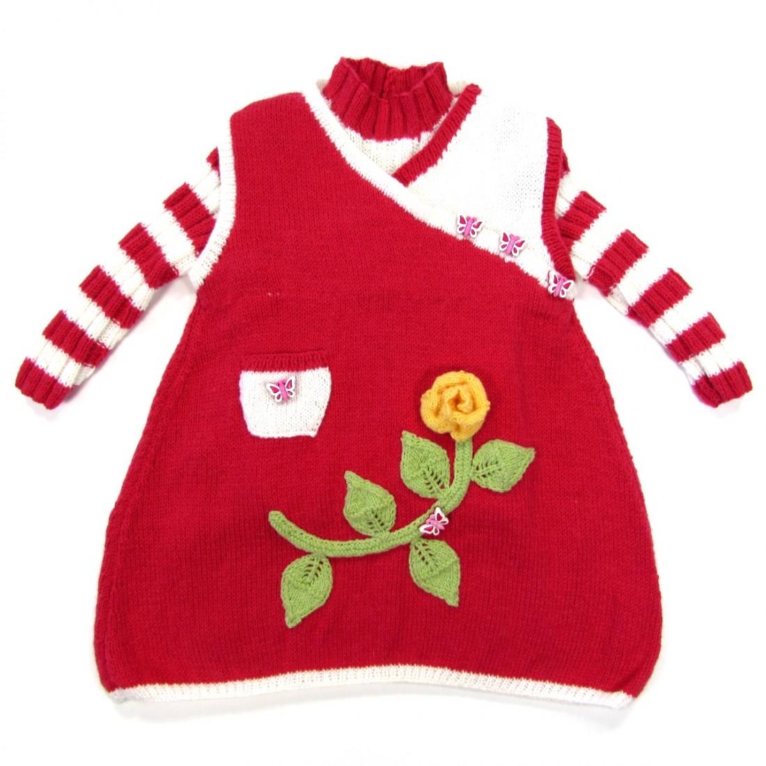 Robe rouge et pull laine bébé fille 18 mois