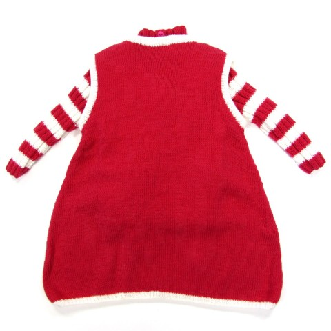 Robe forme trapèze et pull bébé manches à rayures rouge et blanc de dos