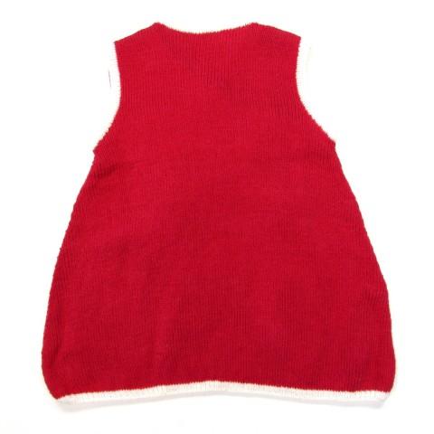 Robe chasuble rouge en laine pour bébé fille 18 mois