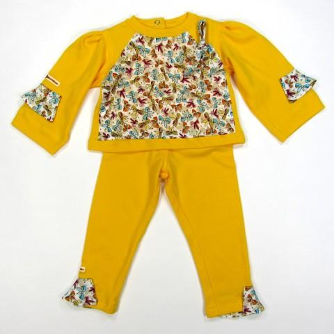 Tee shirt et caleçon jaune bébé fille 18 mois avec noeuds