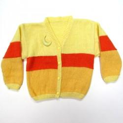 Gilet bébé fille en laine jaune poussin jaune orangé et orange