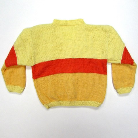 Gilet bébé tricot boutonné par 4 boutons coeur jaune pâle, croissant de lune décoratif