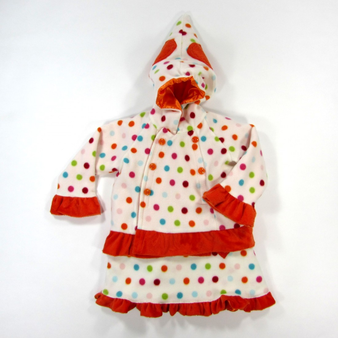 Manteau et robe bébé fille 18 mois en polaire imprimé pois multicolores