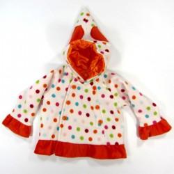 Manteau bébé fille à capuche longue et pointue avec 2 gros coeurs orange