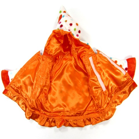 Détail de la doublure satin orange  du manteau bébé fille 18 mois