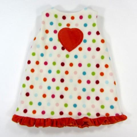 Robe chasuble de dos avec gros coeur en fourrure orange au milieu