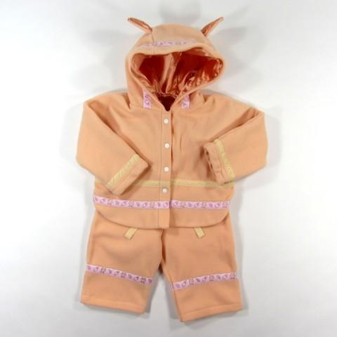Ensemble bébé fille 18 mois manteau cape et pantalon en polaire couleur pêche