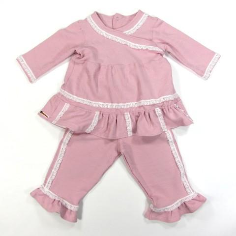 Tunique et pantalon en maille rose pailletée volants et dentelle bébé fille 18 mois