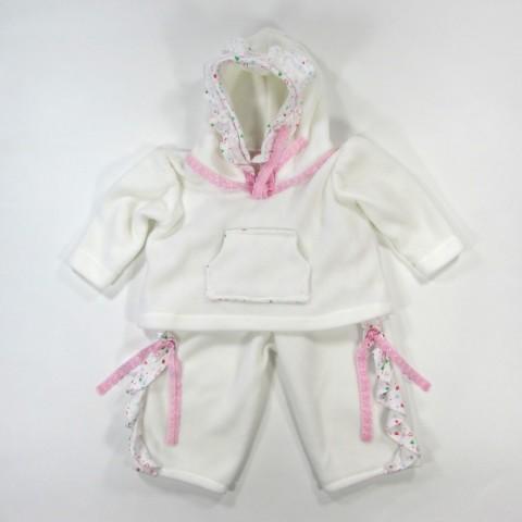 Sweatshirt à capuche polaire blanc bébé fille 18 mois et pantalon