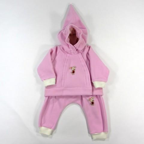 Manteau capuche et sarouel rose fille bebe reveur handmade 18 mois