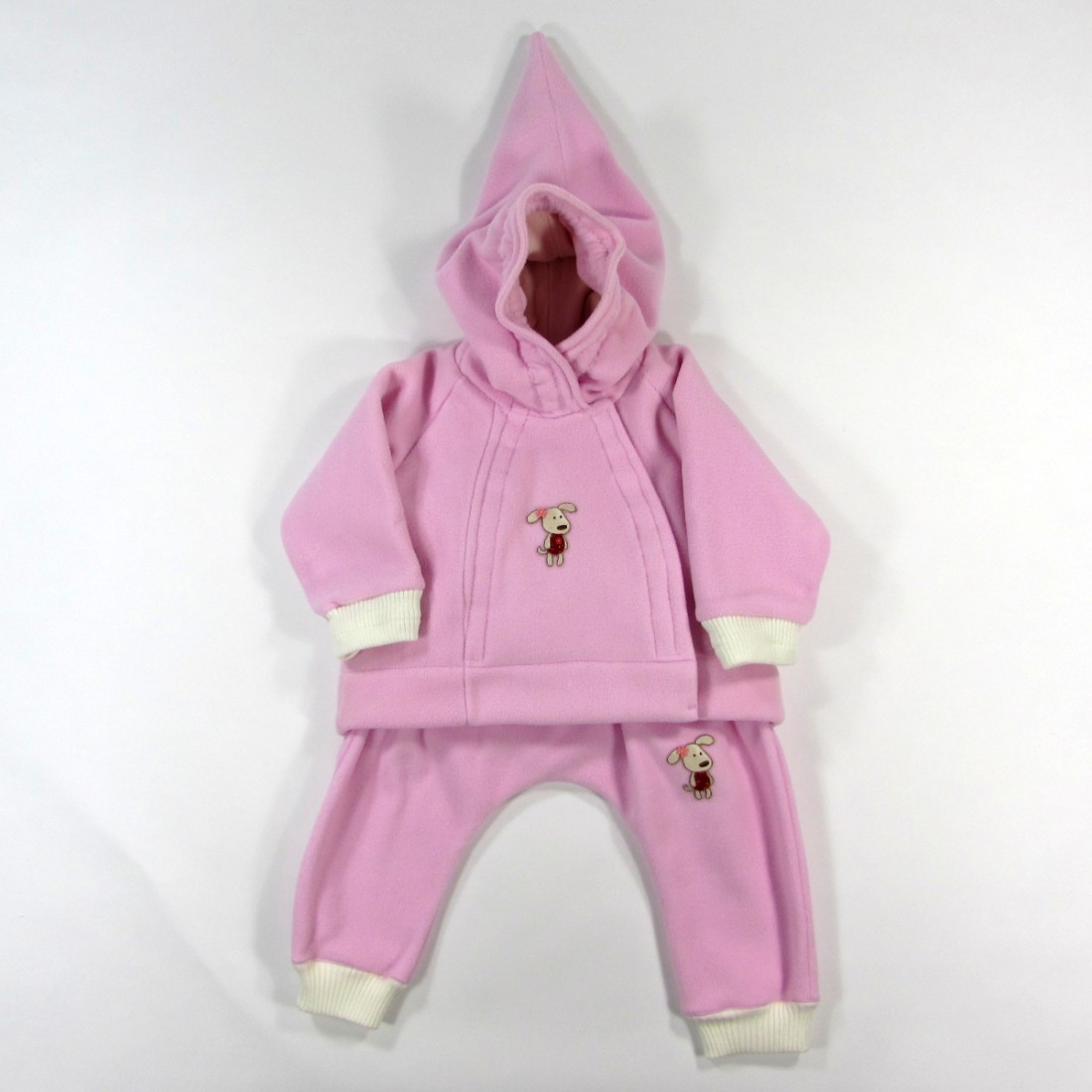 design professionnel profiter du prix le plus bas qualité Veste à capuche et sarouel bébé fille polaire rose avec badge chien