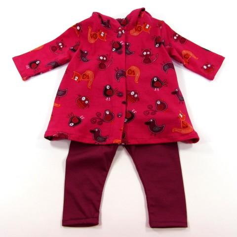 Robe à capuche renard et legging  pour bébé fille 6 mois