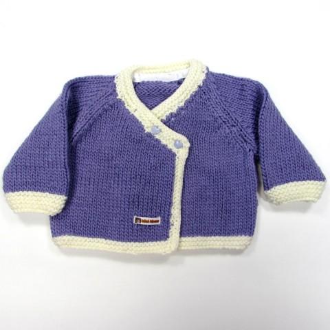 Cardigan croisé devant en grosse laine mauve et blanc bébé fille 6 mois LOLA