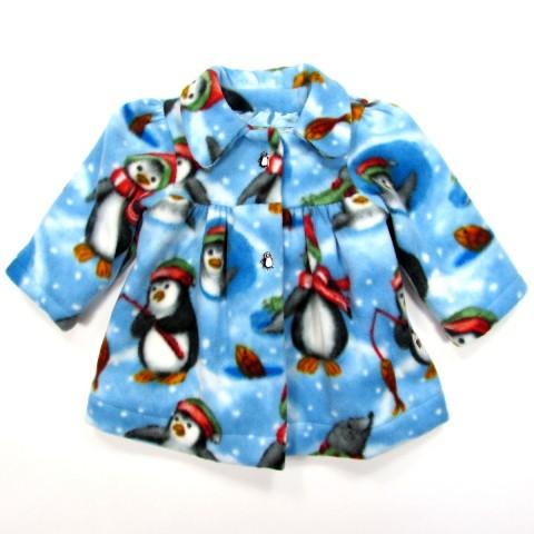 Veste bébé fille en polaire bleu ciel avec pingouins pêchant sur la banquise