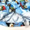 Veste bébé fille doublée en satin bleu ciel uni biais à l'encolure et le long des pattes de boutonnage