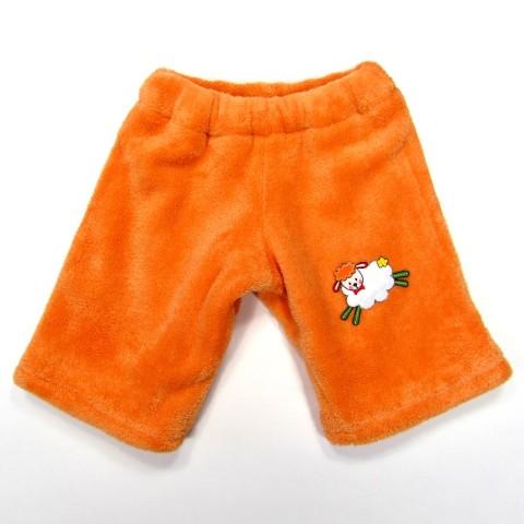 Pantalon hiver bébé fille en peluche orange doublé coton avec mouton farceur