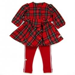 Robe écossaise rouge à carreaux et legging bébé fille 6 mois