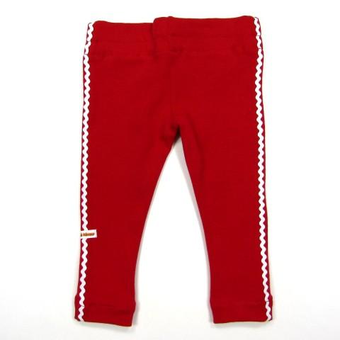 Legging rouge rubis bébé fille 6 mois avec croquet blanc de chaque côté des jambes