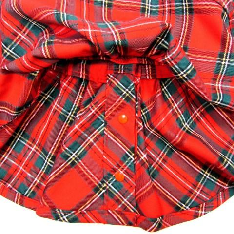 Vue envers du bas de la robe bébé fille 6 mois en écossais rouge avec ses belles finitions authentiques