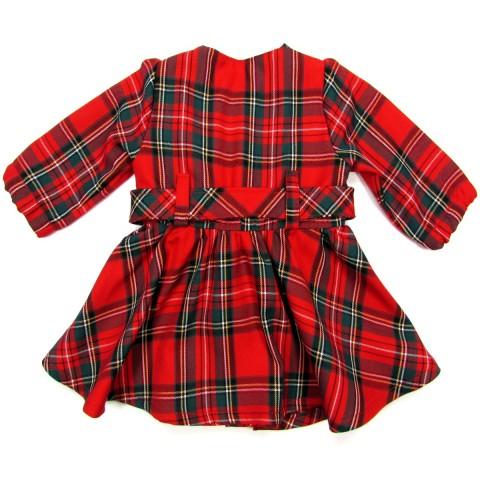 Robe tissu écossais rouge vue de dos avec sa ceinture maintenue par des passants pour bébé fille 6 mois