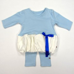 Robe boule et legging bleu ciel et blanc bébé fille 3 mois
