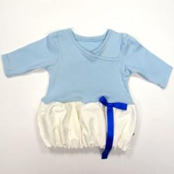 Robe bouffante bébé fille 3 mois corsage bleu ciel  et jupe jacquard blanc triple épaisseur