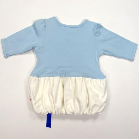 Dos de robe de fête pour bébé fille 3 mois bleu ciel et blanc
