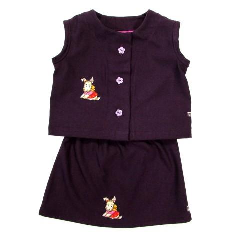 Gilet sans manches et jupe bébé fille en flanelle violette
